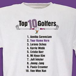 Personalized Top Ten Women Golfers T-Shirt