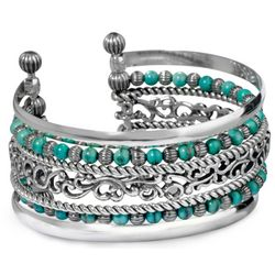 Silver Rodeo Seven-Row Blue Turquoise Cuff Bracelet