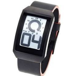 E-Ink Digital Watch with Black and Red Rubber Watch Band