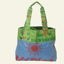 Dark Blue and Green Gecko Traders Recycled Market Bag