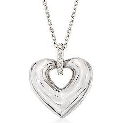 Sterling Silver Heart Pendant with Diamond Accents