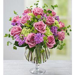 Garden Bouquet in Clear Glass Pedestal Vase