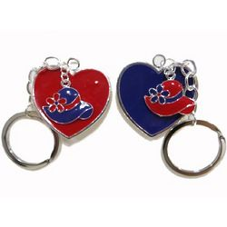 Red and Purple Hearts and Hats Key Rings