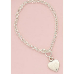 Monogrammed Sterling Silver Heart Bracelet