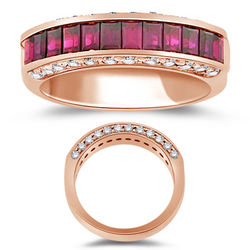 Diamond & Ruby Ring in 18K Rose Gold