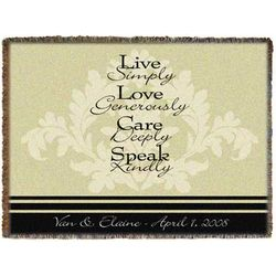 Personalized Fleur Woven Throw Blanket