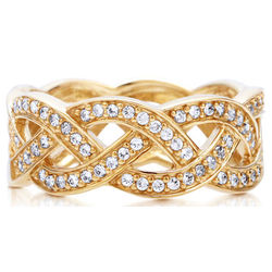 Gold Vermeil Cubic Zirconia Fancy Woven Fashion Ring