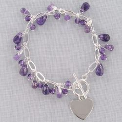 Engraved Genuine Amethyst Bracelet