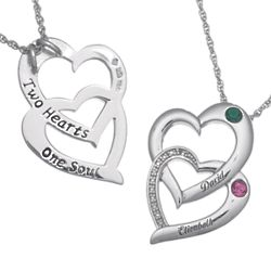 Couple's Name and Birthstone Entwined Hearts Necklace