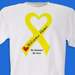 Yellow Ribbon Welcome Home Personalized Military T-Shirt