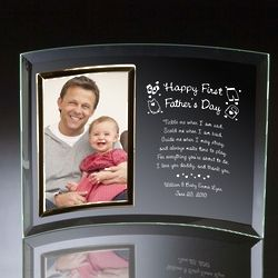 Personalized Happy First Father's Day Curved Glass Photo Frame
