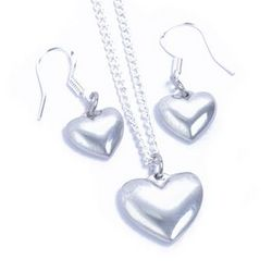 Tin Heart Earrings and Pendant Set