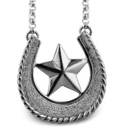 Lucky Silver Horseshoe and Star Necklace
