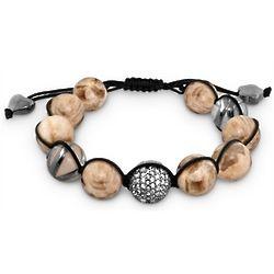 Black Macrame Bracelet with Monaco Agate Beads