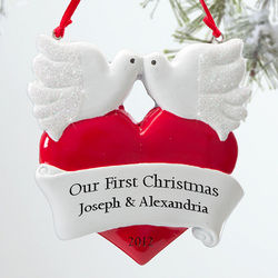 Personalized Romantic Love Birds Christmas Ornament