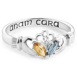 Sterling Silver Claddagh Couple's Ring with Diamond Accent