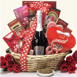 Sweet Devotion Large Valentine's Day Wine Gift Basket