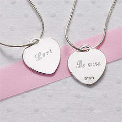 Custom Message Engraved Sterling Heart Necklace