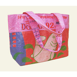 Dark Pink and Orange Gecko Traders Recycled Bag