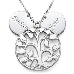 Cut Out Family Tree Necklace with Engraved Discs