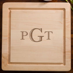 Raised Monogram Maple Wood Cutting Board