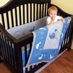 Dinosaur Organic Cotton Crib Set in Cornflower Blue
