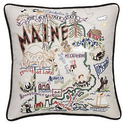 Hand Embroidered Maine State Pillow
