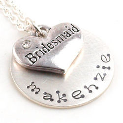 Bridesmaid's Personalized Hand Stamped Necklace or Keychain