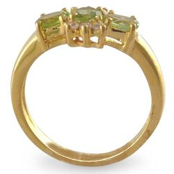 Princess Gold Vermeil Peridot 3-Stone Ring