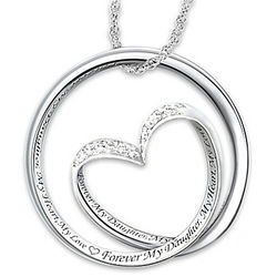 Daughter's Engraved Heart Infinity Pendant with 8 Diamonds