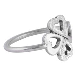 Hearts in Clover Sterling Silver Cocktail Ring