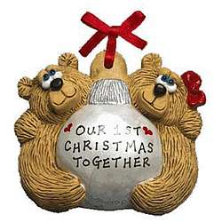 Personalized Teddy Bear Couple Christmas Bulb Ornament