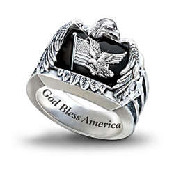 American Eagle Men's Sterling Silver Ring