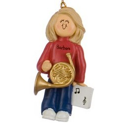 Personalized Female French Horn Player Christmas Ornament
