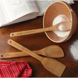 Personalized Bamboo Cooking Utensil Set