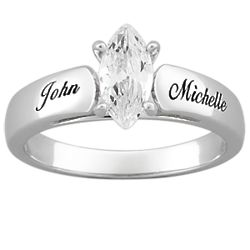 Sterling Silver Marquise Cubic Zirconia Personalized Wedding Ring