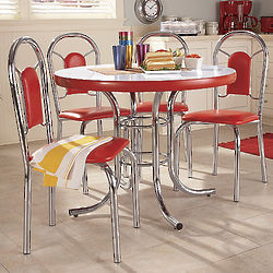Retro Chrome and Vinyl Dining Table and Chairs