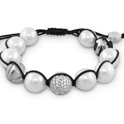White Bead Bracelet with Black Macrame Pull Cord