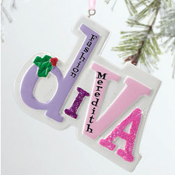 Personalized Diva Ornament with Holly Accent
