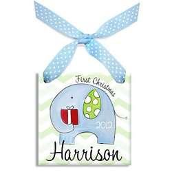 First Christmas Blue Elephant Ornament
