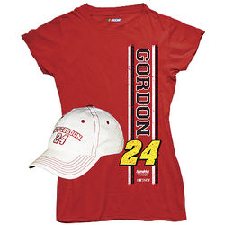 Jeff Gordon #24 Ladies T-Shrit and Cap