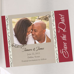 Filigree Save The Date Photo Wedding Magnets