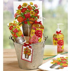 Zinnias Kitchen Soap Gift Bucket