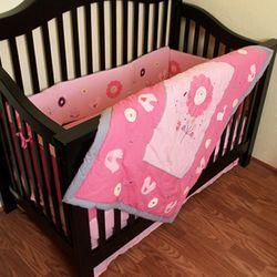 Chicadee Organic Cotton Crib Set in Rose Pink