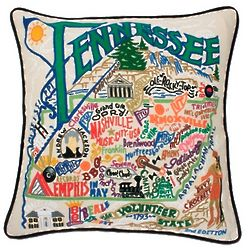 Hand Embroidered Tennessee State Pillow