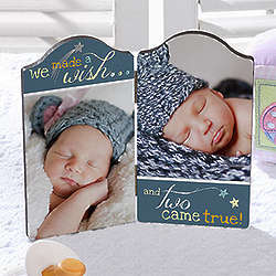 We Made a Wish Twin Babies Petite Photo Plaque