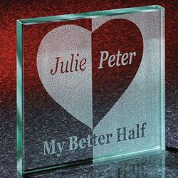 My Better Half Couple's Keepsake Glass Block