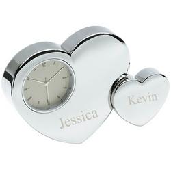 Silver Double Heart Desktop Clock