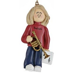 Personalize Female Trumpet Player Christmas Ornament