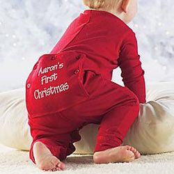 "Personalized ""Baby's First Christmas"" Long Johns"